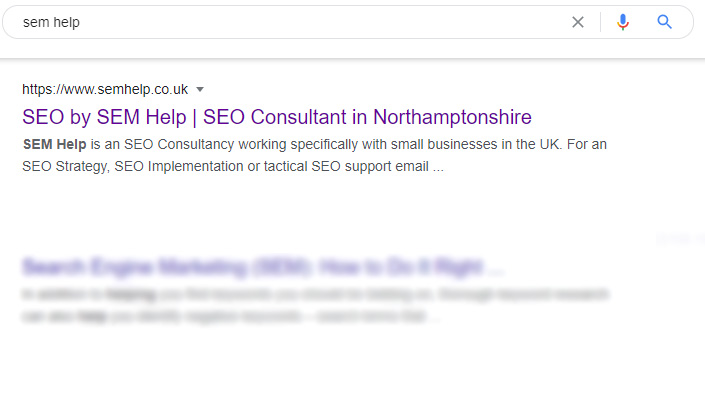 A meta description is displayed on a Search Engine Results Page for the search term sem help
